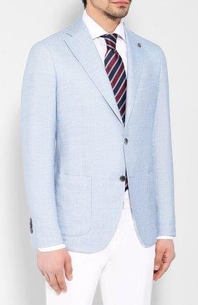 Пиджак из смеси шерсти и льна Sartoria Latorre голубой   Фото №3