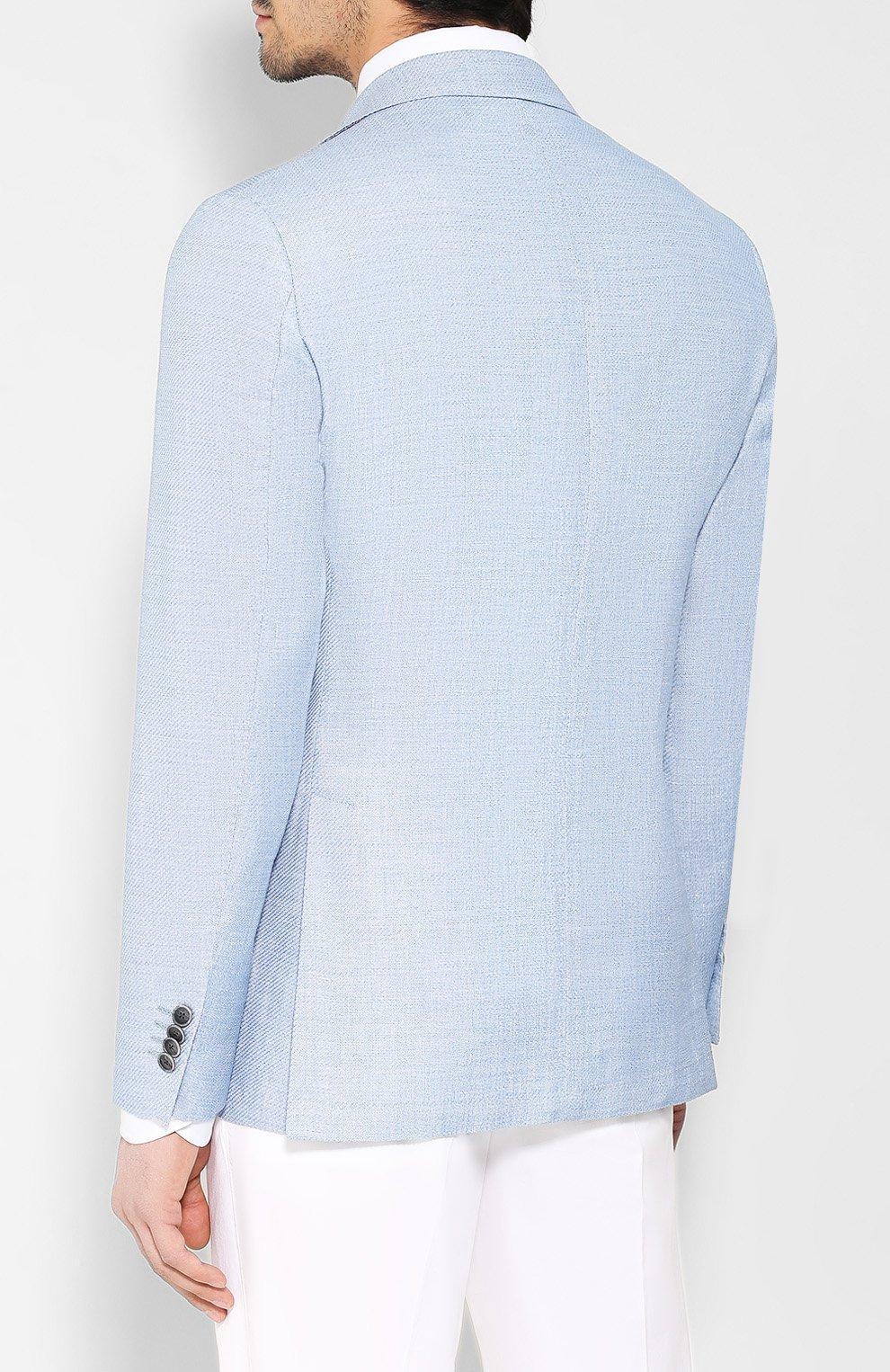 Пиджак из смеси шерсти и льна Sartoria Latorre голубой   Фото №4
