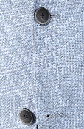 Пиджак из смеси шерсти и льна Sartoria Latorre голубой   Фото №5
