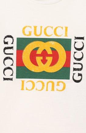 Детский хлопковая футболка GUCCI белого цвета, арт. 497845/X3L91   Фото 3