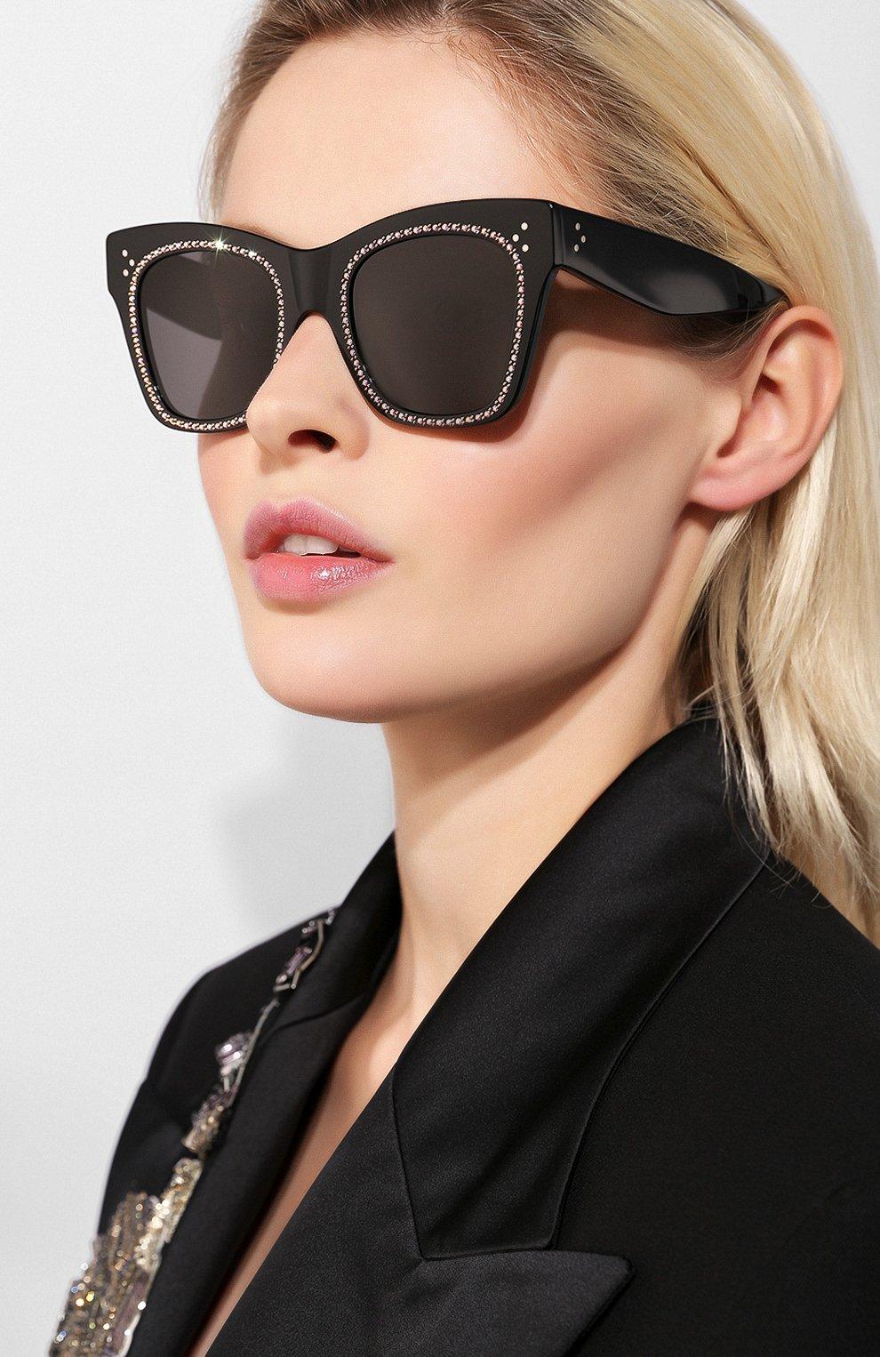 Женские солнцезащитные очки CELINE EYEWEAR черного цвета, арт. CL4004IS 01A   Фото 2