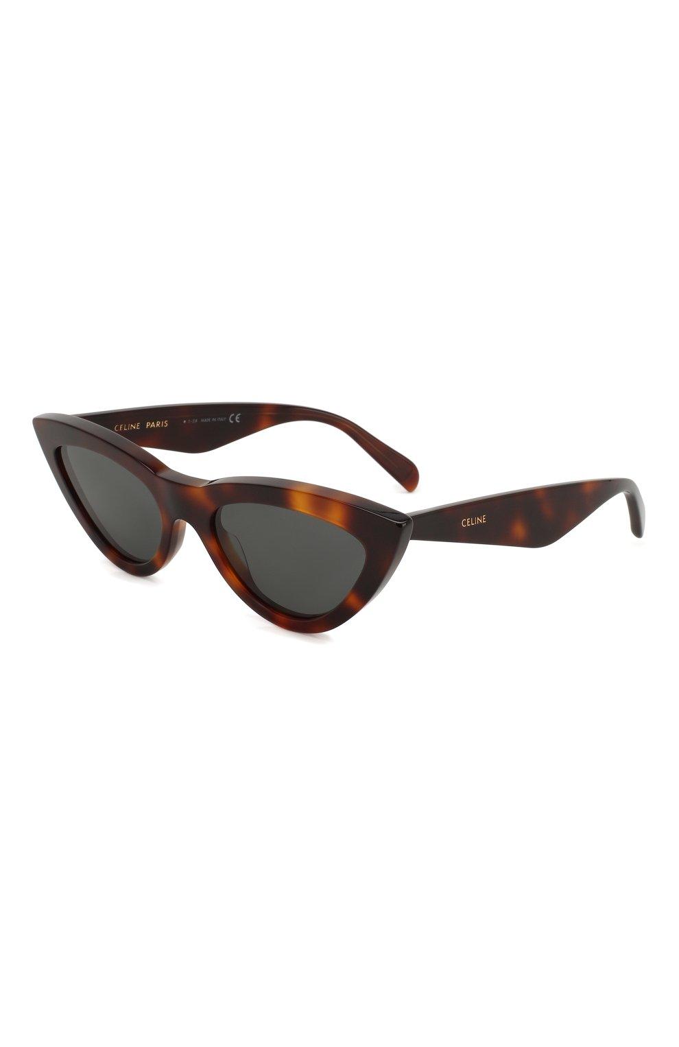 Женские солнцезащитные очки CELINE EYEWEAR коричневого цвета, арт. CL4019IN 53N   Фото 1