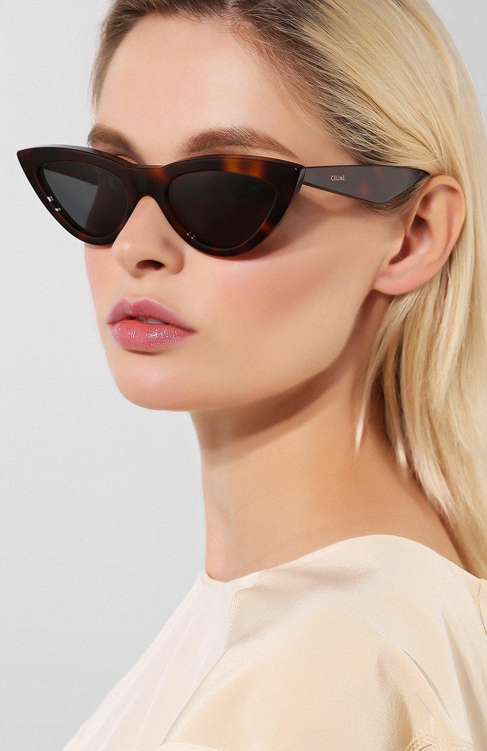 Женские солнцезащитные очки CELINE EYEWEAR коричневого цвета, арт. CL4019IN 53N   Фото 2