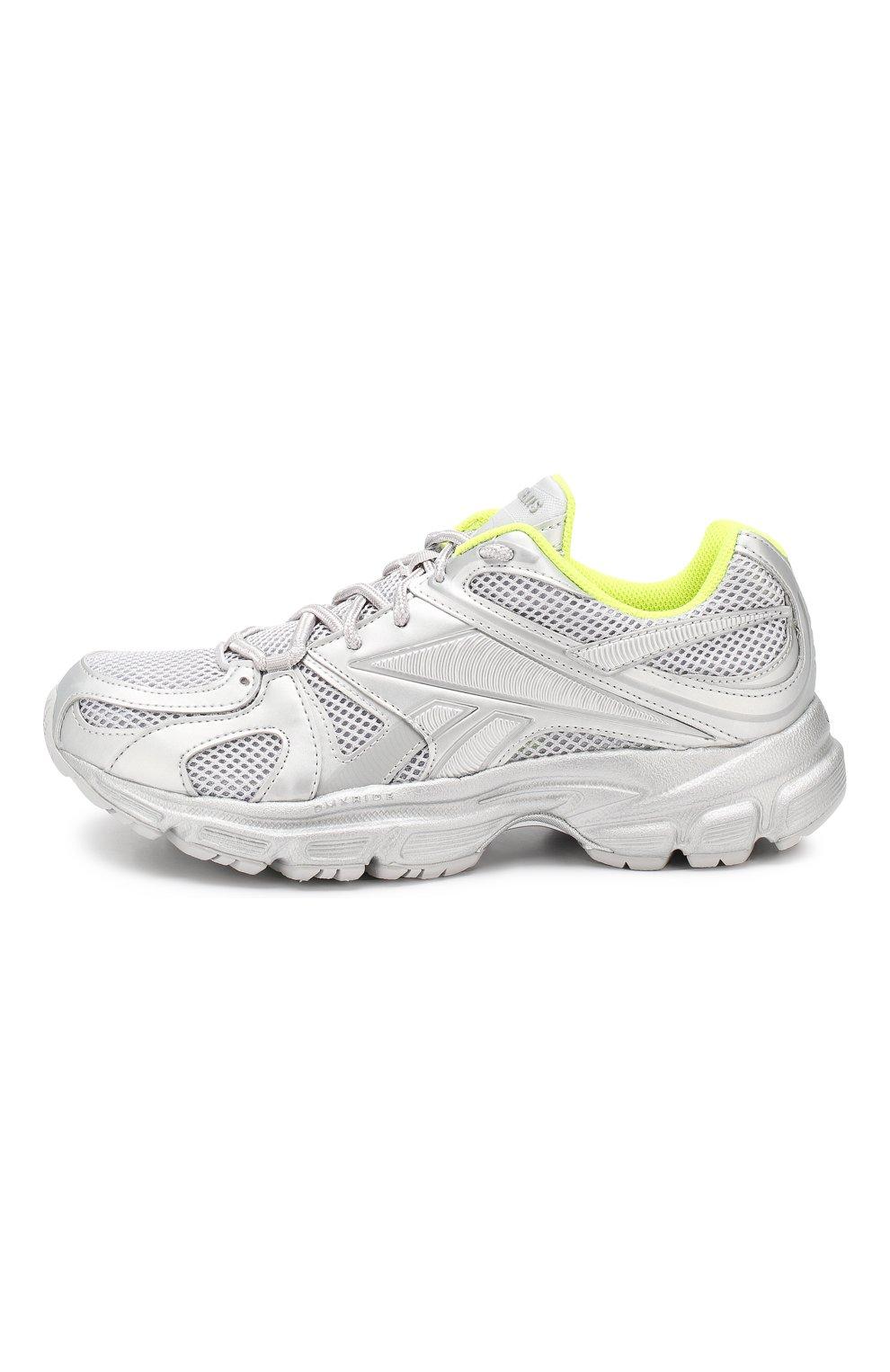 Текстильные кроссовки Vetements x Reebok Spike Runner 200 Vetements серебряные | Фото №3