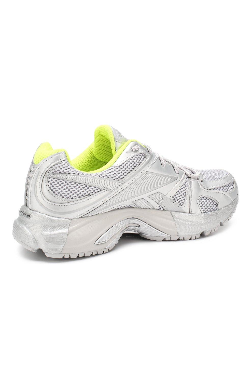 Текстильные кроссовки Vetements x Reebok Spike Runner 200 Vetements серебряные | Фото №4