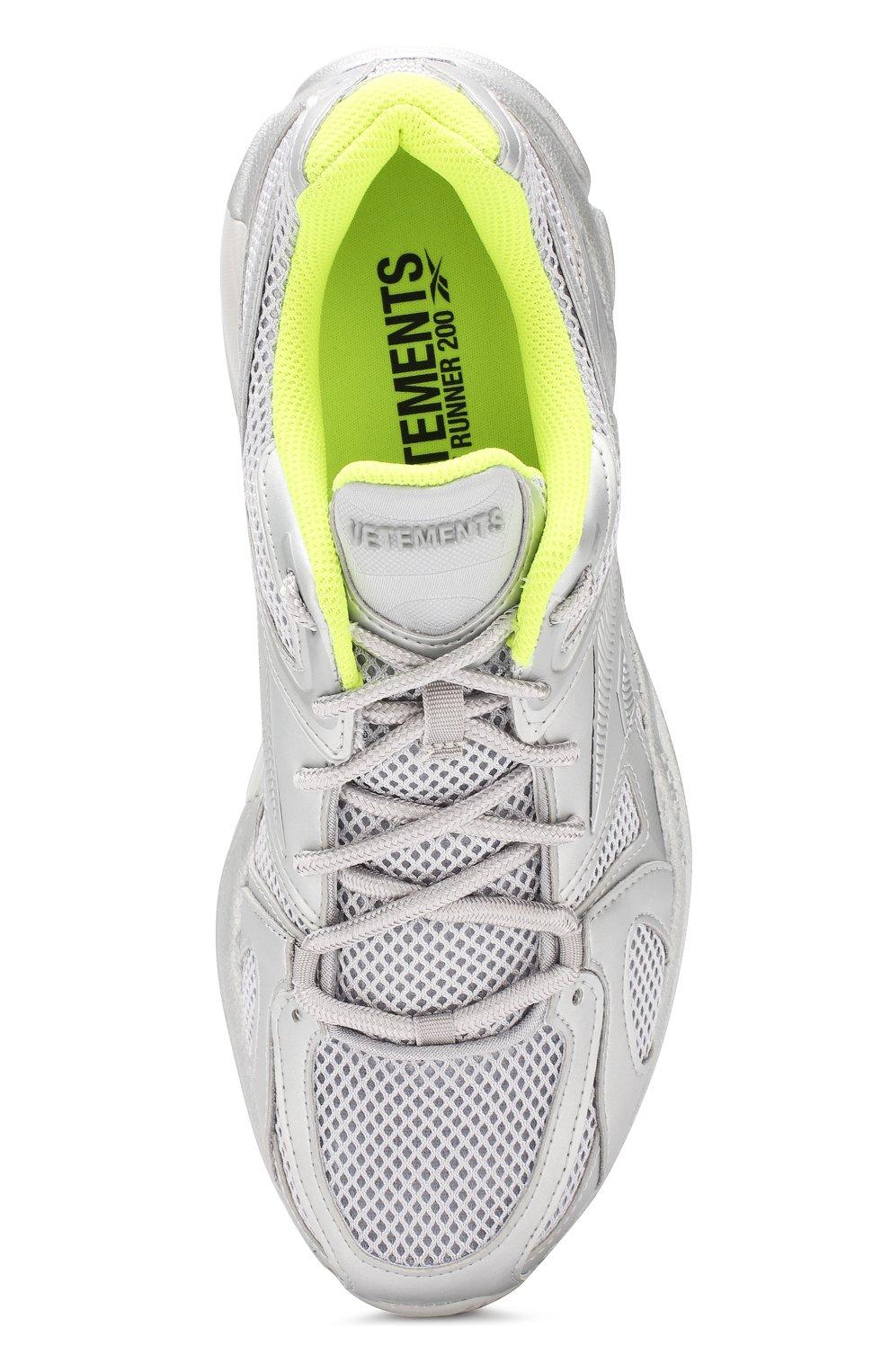 Текстильные кроссовки Vetements x Reebok Spike Runner 200 Vetements серебряные | Фото №5