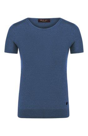 Женский топ из смеси шелка и хлопка LORO PIANA синего цвета, арт. FAG1725 | Фото 1