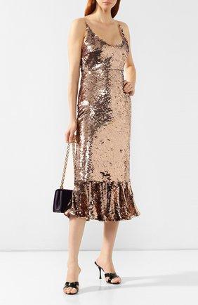 Платье с пайетками Saloni бронзовое | Фото №2