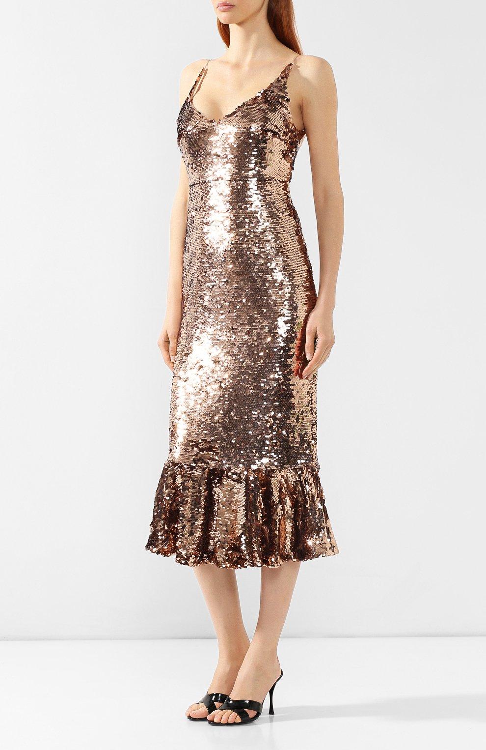 Платье с пайетками Saloni бронзовое | Фото №3