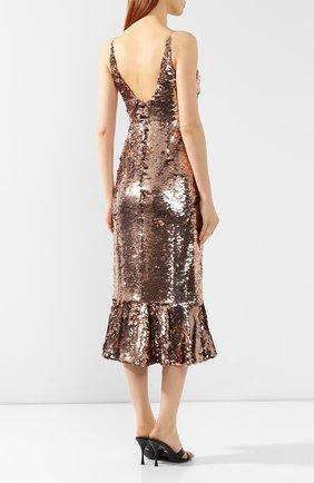 Платье с пайетками Saloni бронзовое | Фото №4