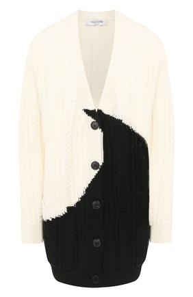 Женский шерстяной кардиган VALENTINO черно-белого цвета, арт. SB3KA00J4QR | Фото 1