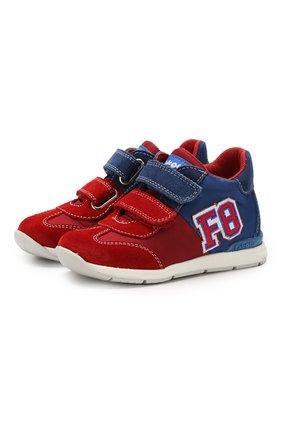 Детские текстильные кроссовки с застежками велькро FALCOTTO красного цвета, арт. 0012013720/01 | Фото 1