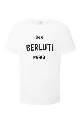 Мужская хлопковая футболка BERLUTI белого цвета, арт. R15JRS29-004 | Фото 1