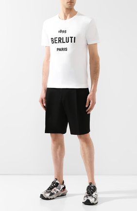 Мужская хлопковая футболка BERLUTI белого цвета, арт. R15JRS29-004   Фото 2