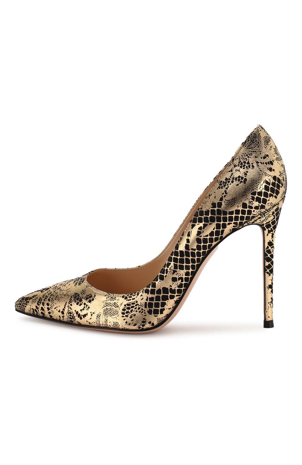 Кожаные туфли Gianvito 105 Gianvito Rossi золотые | Фото №3