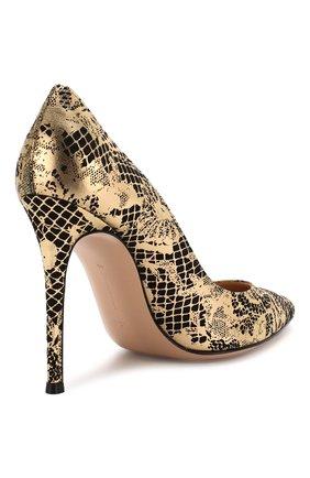 Кожаные туфли Gianvito 105 Gianvito Rossi золотые | Фото №4