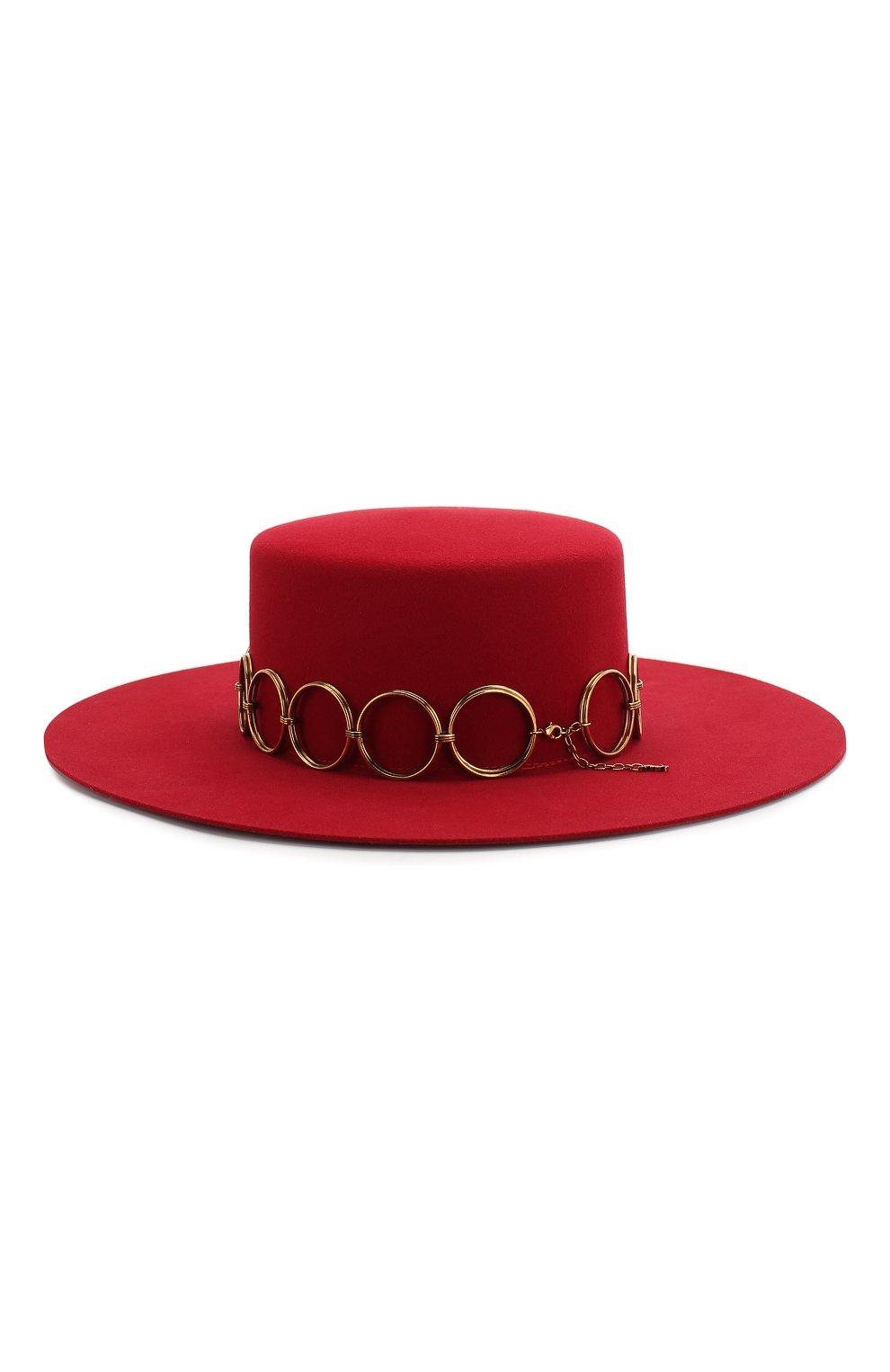Фетровая шляпа Saint Laurent красного цвета   Фото №2