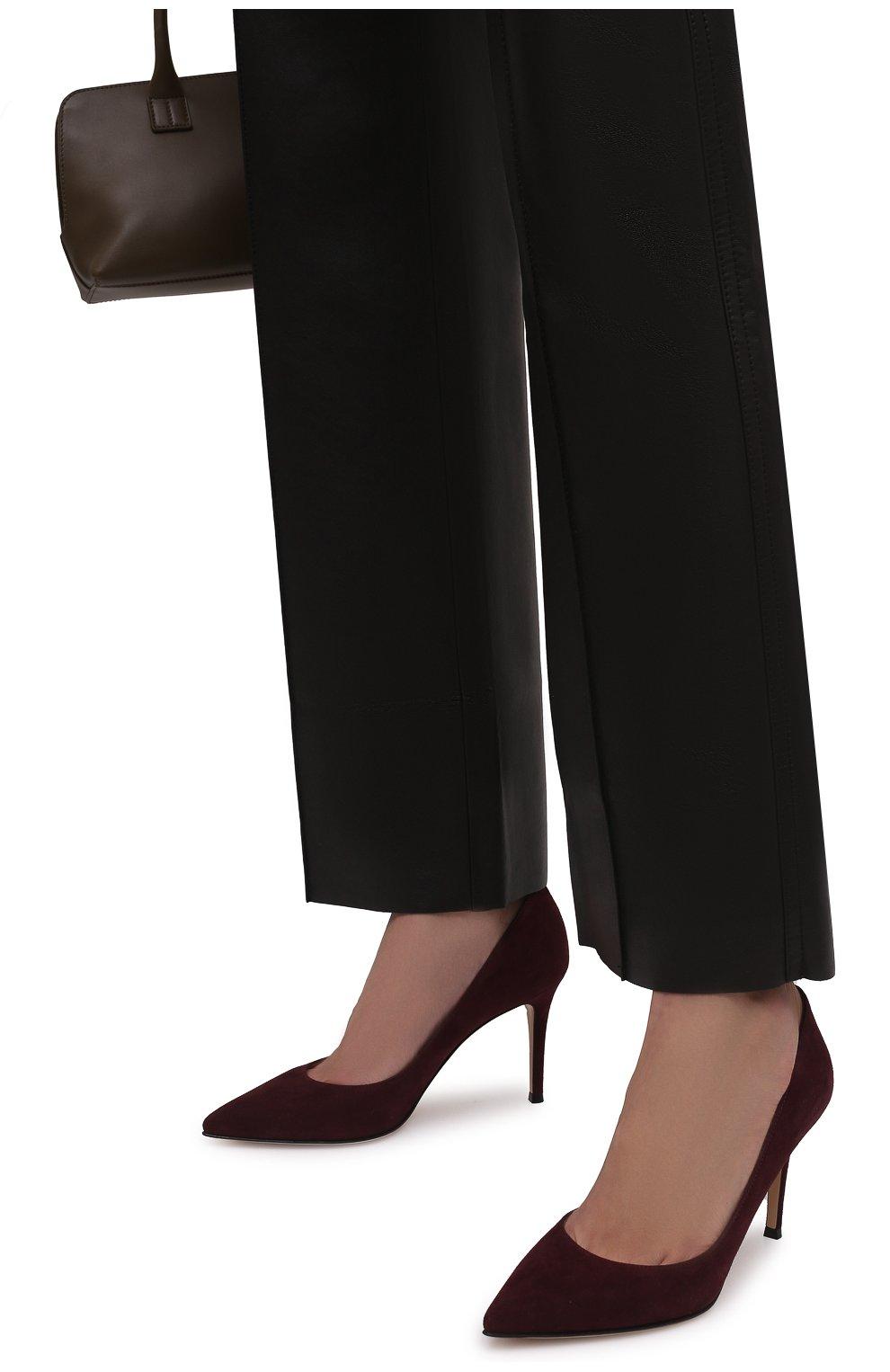 Женские замшевые туфли gianvito 85 GIANVITO ROSSI бордового цвета, арт. G24580.85RIC.CAMR0YA | Фото 3