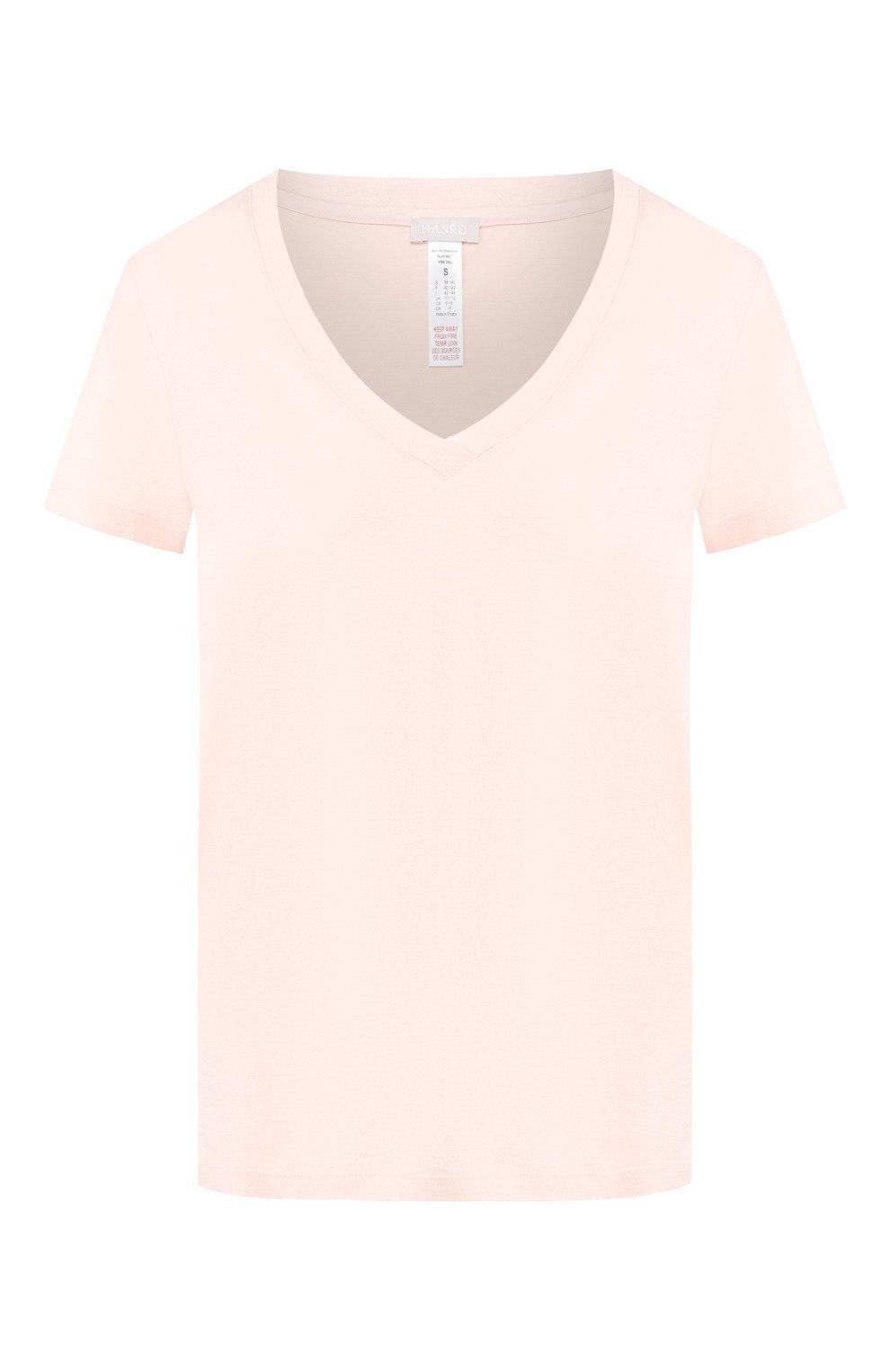 Женская хлопковая футболка HANRO светло-розового цвета, арт. 077876 | Фото 1