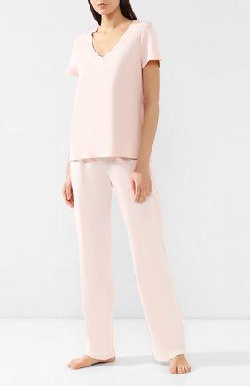 Женская хлопковая футболка HANRO светло-розового цвета, арт. 077876 | Фото 2