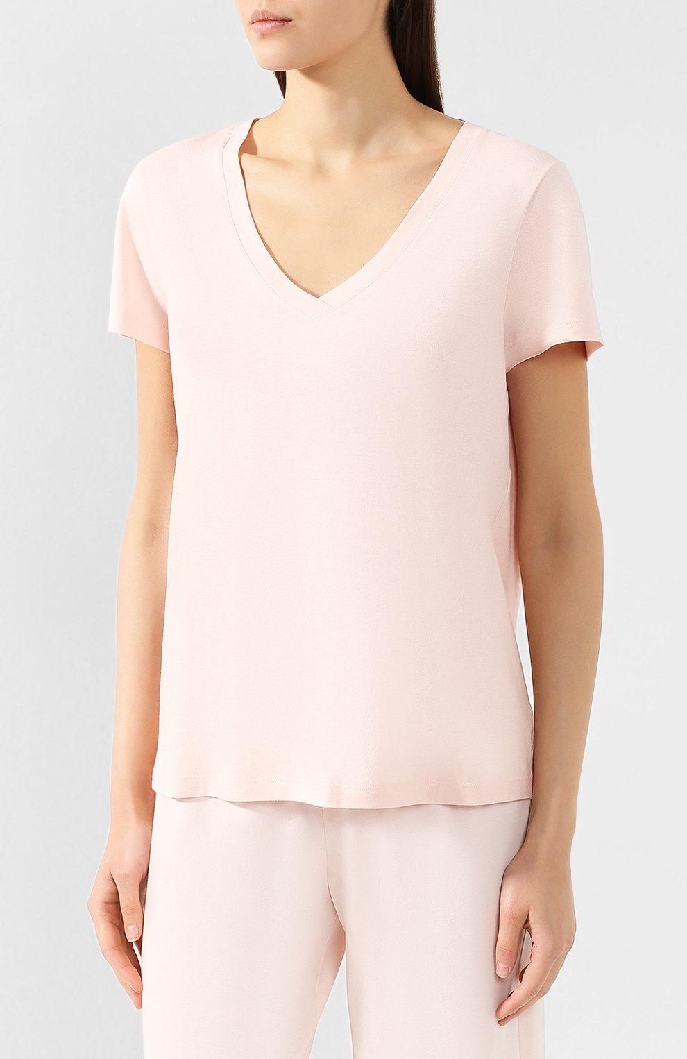 Женская хлопковая футболка HANRO светло-розового цвета, арт. 077876 | Фото 3