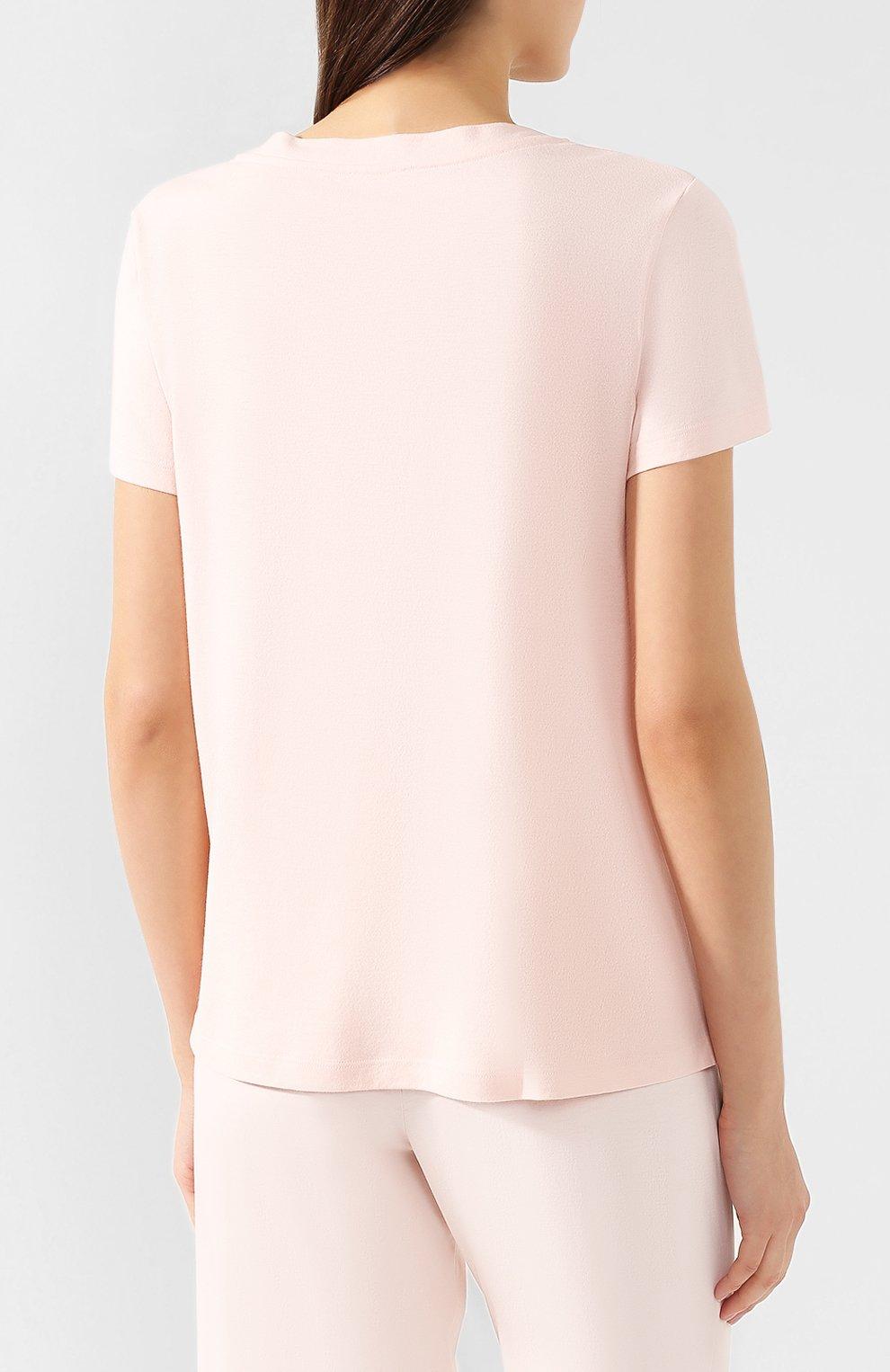 Женская хлопковая футболка HANRO светло-розового цвета, арт. 077876 | Фото 4