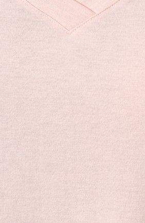 Женская хлопковая футболка HANRO светло-розового цвета, арт. 077876 | Фото 5