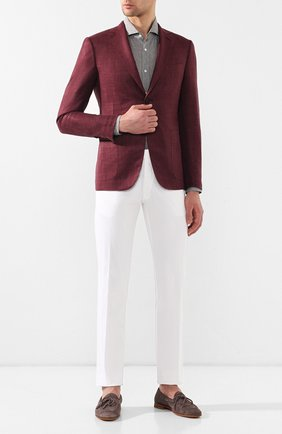 Мужская льняная рубашка BRUNELLO CUCINELLI хаки цвета, арт. MF6301718 | Фото 2