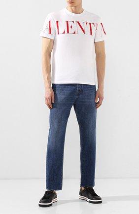 Мужская хлопковая футболка VALENTINO белого цвета, арт. SV3MG03B5FN | Фото 2