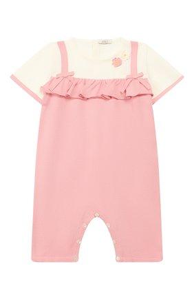 Детский хлопковый комбинезон BABY T розового цвета, арт. 19PE115P | Фото 1