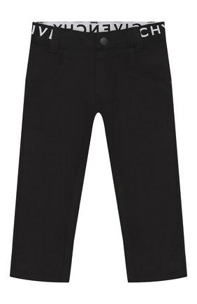 Детские хлопковые брюки GIVENCHY черного цвета, арт. H04042/6M-18M | Фото 1