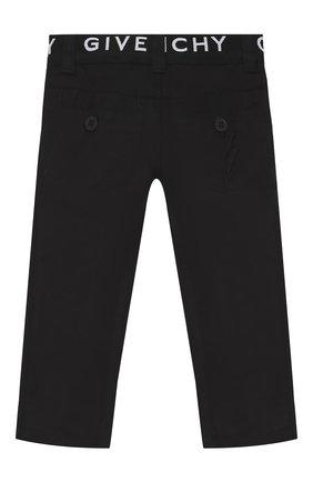 Детские хлопковые брюки GIVENCHY черного цвета, арт. H04042/6M-18M   Фото 2
