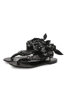 Кожаные сандалии Dallas Saint Laurent черные | Фото №1