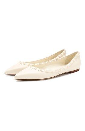 Женские кожаные балетки valentino garavani rockstud VALENTINO белого цвета, арт. SW2S0403/VB8 | Фото 1