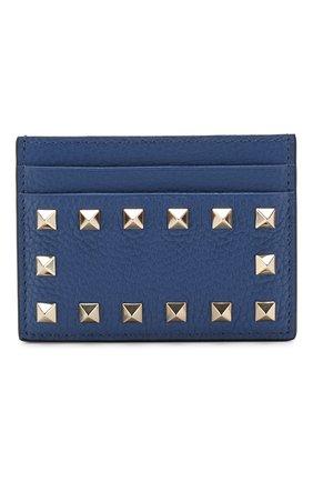 Кожаный футляр для кредитных карт Valentino Garavani Valentino синего цвета | Фото №1