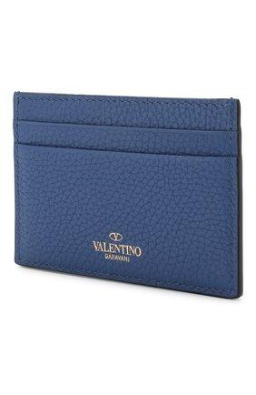 Кожаный футляр для кредитных карт Valentino Garavani Valentino синего цвета | Фото №2