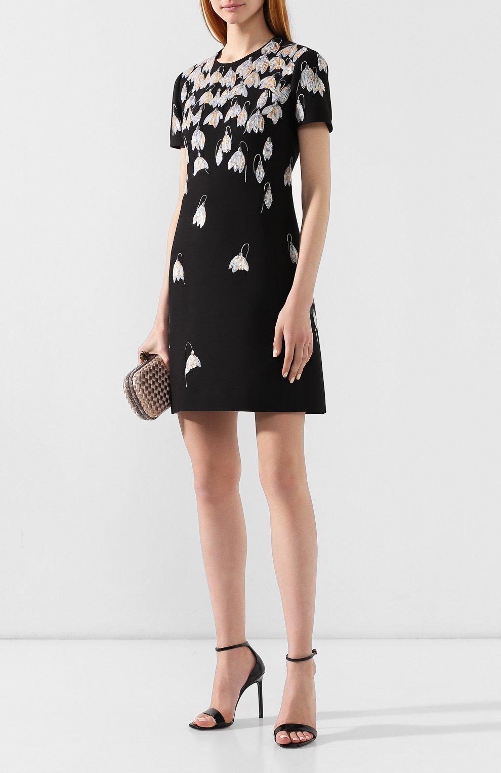 Платье из смеси шерсти и шелка Valentino черное   Фото №2
