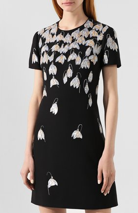 Платье из смеси шерсти и шелка Valentino черное   Фото №3