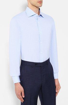 Хлопковая сорочка Isaia темно-синяя   Фото №3