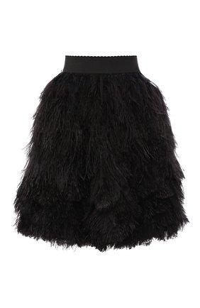Шелковая юбка с перьевой отделкой | Фото №1