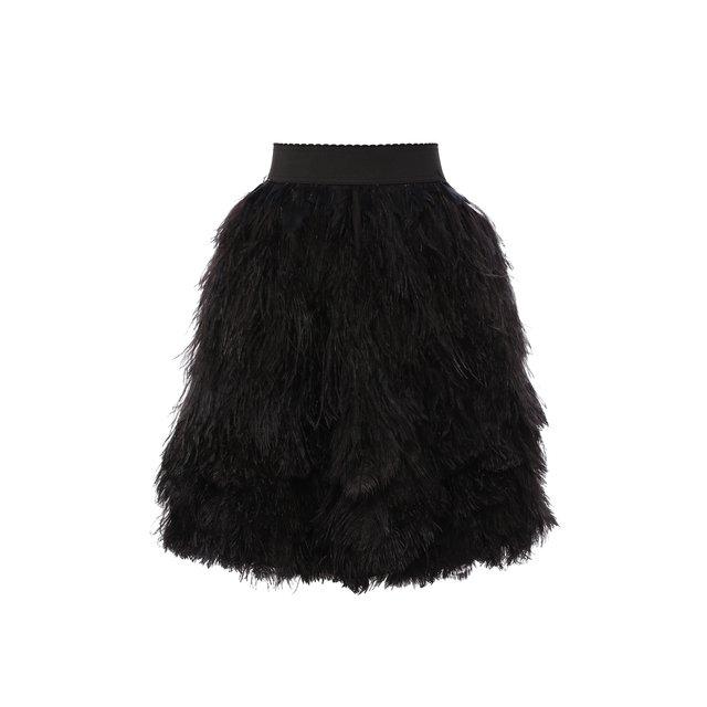 Шелковая юбка с перьевой отделкой Dolce & Gabbana