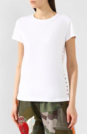 Хлопковая футболка Valentino белая | Фото №3