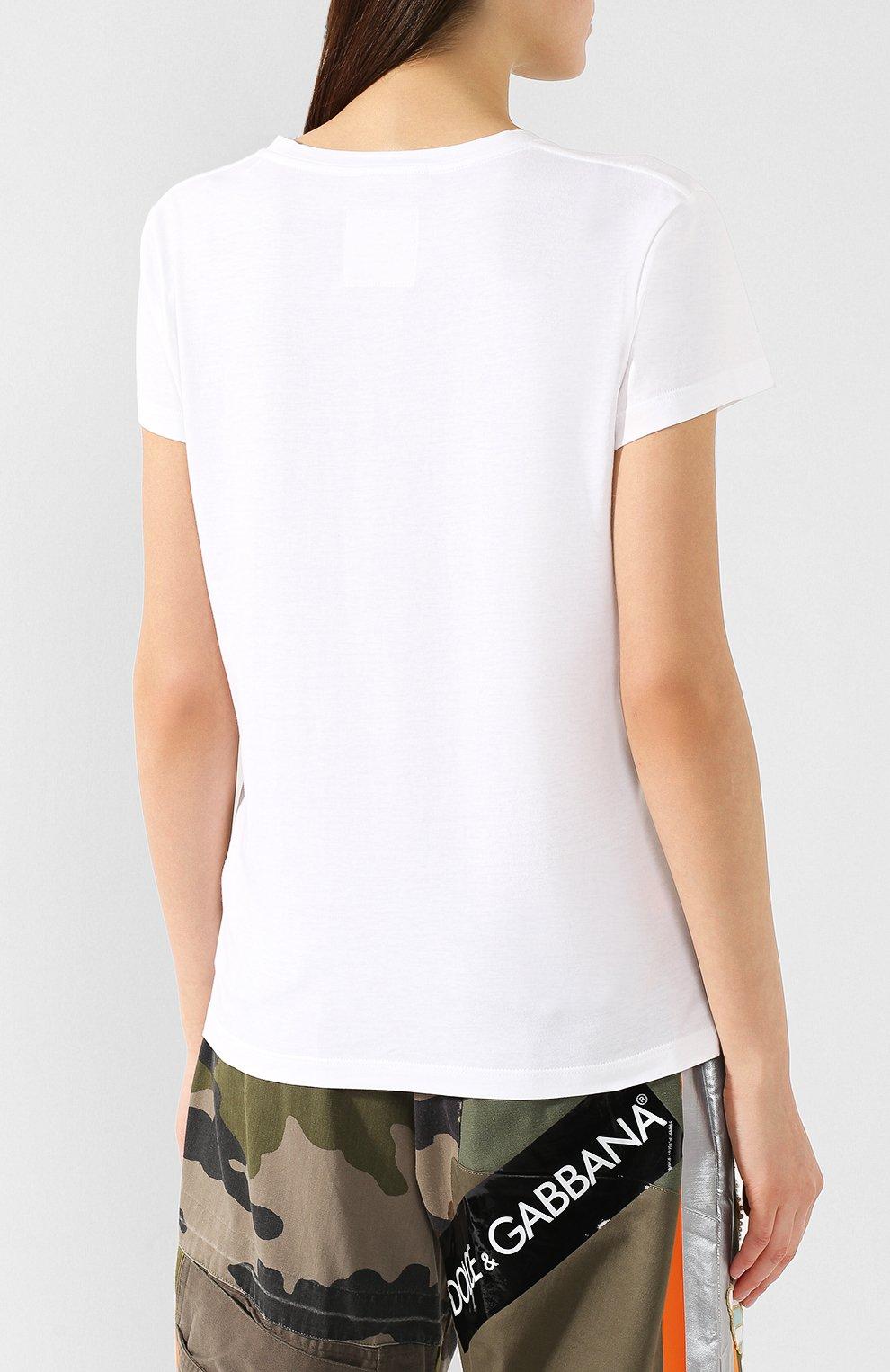 Хлопковая футболка Valentino белая | Фото №4