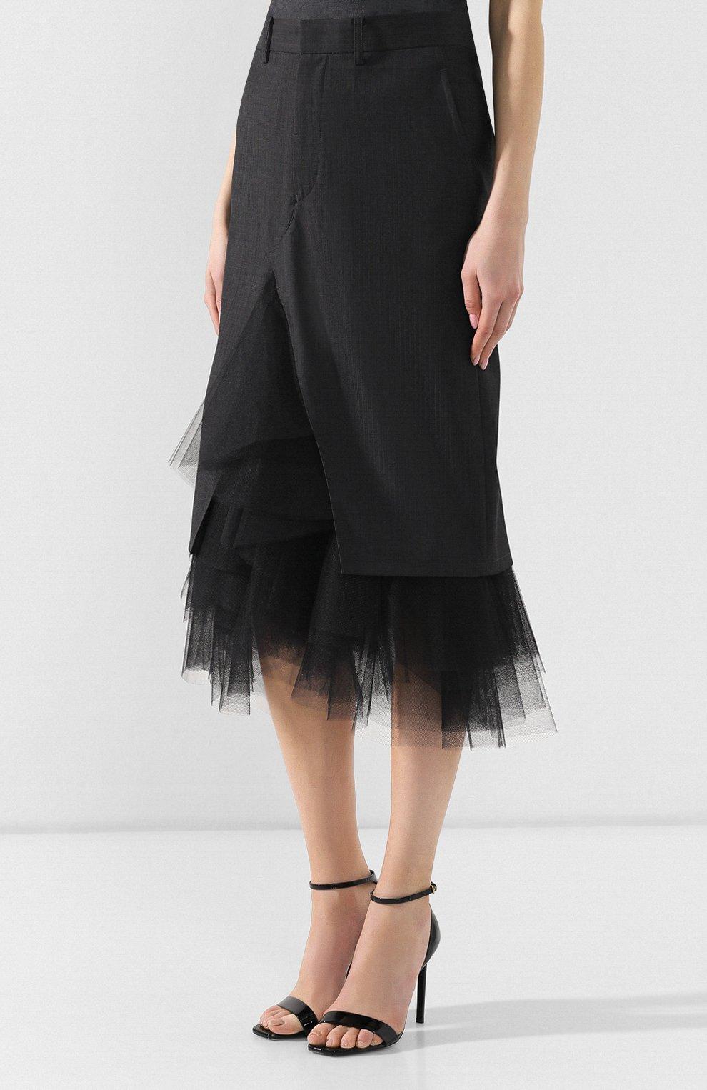 Шерстяная юбка Junya Watanabe темно-серая | Фото №3
