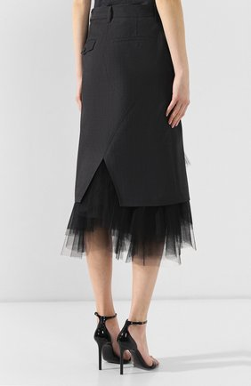 Шерстяная юбка Junya Watanabe темно-серая | Фото №4