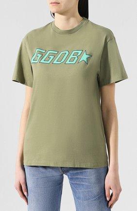 Хлопковая футболка Golden Goose Deluxe Brand хаки | Фото №3