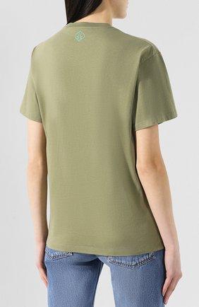 Хлопковая футболка Golden Goose Deluxe Brand хаки | Фото №4