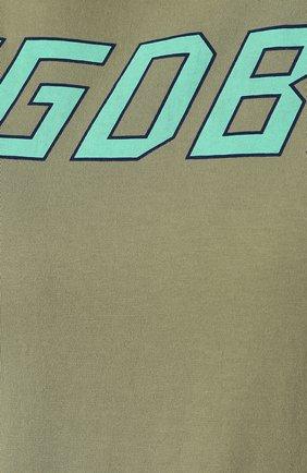 Хлопковая футболка Golden Goose Deluxe Brand хаки | Фото №5