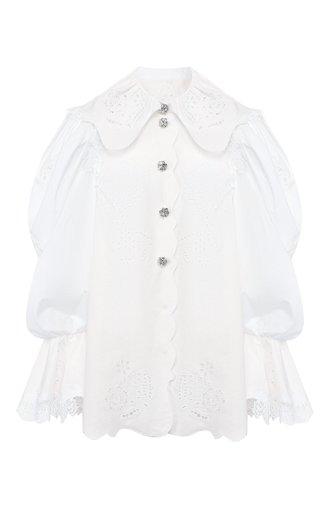 Блузка из смеси хлопка и льна
