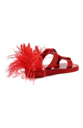Кожаные шлепанцы Valentino Garavani Escape Valentino красные | Фото №4